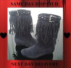 Flyfor Navy Blue Faux Suede Tassle Cowboy Style Calf High Boots & Buckle Detail