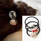 Gold Plated Rhinestone Bowknot Ball Ponytail Holder Hair Band Women Accessory