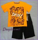 DKNY OUTFIT SET TEE SHIRT & SHORTS PANTS CARGO BOYS 4T 4 5 6 BLACK ORANGE NEW