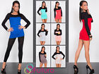 ☼ Women's Extra Short Bodycon ☼ Scoop Neck Long Sleeve Tunic Top Size 8-12 8132