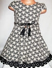 GIRLS 50s STYLE CREAM BLACK HEART PRINT SKATER PARTY DRESS with TIE BELT