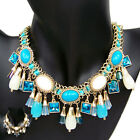 vintage antique jewellery gold gp glass crystal rhinestone dangle bib necklace