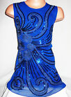GIRLS 60s ROYAL BLUE ORIENTAL EMBROIDERED SEQUIN EVENING SHIFT PARTY DRESS