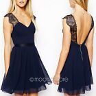 Sexy Womens Backless Lace Chiffon Prom Gowns Party Evening Cocktail Mini Dress