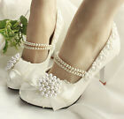 Classic Handmade Pearl Chain Crystal Lace Flower Bows Wedding Women High Heels