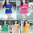 Female elegent office lady lace patch slim fit 3/4 sleeve mini autumn dress 878