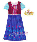 Disney Frozen Anna Girls Costume Children Kids Dress Night Gown Pajama Tiara 3-8