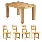 Block Extending Dining Table - W 140-200cm, Solid Oak - with 4 Chairs