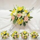 WEDDING FLOWERS TABLE ROUND POSY ARRANGEMENT SILK ROSES YELLOW + OTHER COLOURS