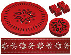 Red Felt Christmas/Xmas Snowflake Placemats/Coasters/Runner/Napkin Rings. Dining
