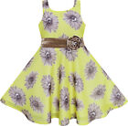 Girls Dress Yellow Elegant Floral Chiffon Silk Birthday Child Clothes 4-12 New