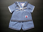 BABY BOY SAILOR OUTFIT, Dark & Light Blue Check Patterned Outfit, Ages 0-4 Years