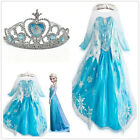 Frozen Elsa Anna Costume Disney Princess Girls Fancy Outfit Long Dress Set Crown