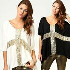 Punk Novelty Women Batwing Loose Sequin Oversized Club T-Shirt Top Tee Plus Size