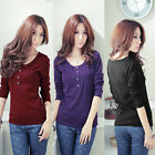 Women Crew Neck Long Sleeve Cotton Button Casual Slim Top T-Shirt Blouse Shirt