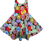 Girls Dress Colorful Daisy Bow Sundress Dancing Beach Children Clothes 2-10 NWT