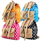 Girls Retro Polka Dots Rucksack Backpack Shoulder School Bag