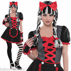 Girls TEEN Creepy Gothic Rag Doll Toy Halloween Fancy Dress Costume + Tights