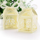 50Pcs Quality Pearl Paper Hollow Wedding Favor Candy Boxes Cage Shape Love Birds