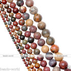 4/6/8/10/12/14mm Gemstone Picasso Jasper Round Ball Loose Beads For Jewelry DIY