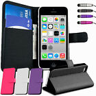 Leather Flip Wallet Case Cover For NEW iPhone 5C Free Screen Protector & Stylus