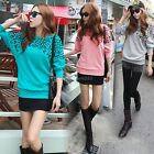 Women Casual Print Leopard Bat-Wing Sleeve Cotton T-Shirt Tops Blouse Sweater EB