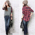 Women Plaid Checked Long Sleeve Casual Loose shirt Tops Blouse GFY