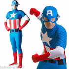 Adults Classic Captain America 2nd Skin Lycra Bodysuit Fancy Dress Costume