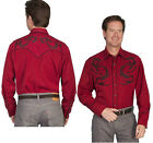P-830ds Scully Western Cowboy Retro Snap Shirt Dragon Embroidered Red Stage
