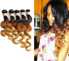 "UK Hot WAVE 3TONE 1b33#27# BRAZILIAN BODY HUMAN HAIR Ombre Hair14""-30""[100G] 6A"