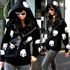 Korean Style Skull Head Long Sleeve Womens Hoodies Outwear Sweats Pockets Zipper
