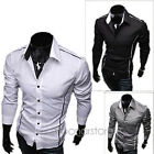 2014 Fashion Luxury Mens Formal Casual Slim Fit Dress Shirt T-Shirt Tops XS-M