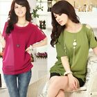 Sparkle Beads Cut-out Batwing Sleeve Chiffon Patchwork Womens T-shirt Tops Tee
