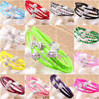 4ROW WRAP LEATHER,8MM WHITE BALL,MAGNETIC CZ CRYSTAL BUCKLE BRACELET PICK COLOR