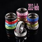 Men & Women 3-Row Pave 114 Titanium Steel Rings Austrian Crystal Rings,5Colors