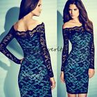 Women Pinup lace tight long sleeve off shoulder eveing party bodycon dress 965