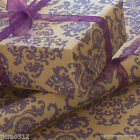 Christmas Purple Baroque Patterned Kraft Brown Wrapping Paper 5 or 10 mtrs