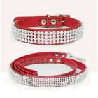 Rhinestone Crystal Jeweled Leather Pet Cat Necklac Dog Collar Choker Leash Set
