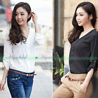 NEW Women Loose V-neck Long Sleeve Casual Shirt Chiffon Tops Blouse T-shirt Tee