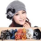 Fashion Ladies Womens Winter Warm Rabbit Fur & Wool Beanie Hat Cap Cute Casual