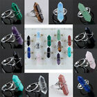 Various Gemstone Stone Healing Chakra Wire Wrap Adjustable Finger Ring Jewelry