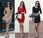 Fashion Women Long Sleeve Slim Fit Patchwork Party Stretch Bodycon Pencil Dress