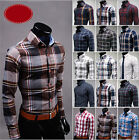 New Men's Popular Button Plaids Luxury Casual Slim Fit Stylish Dress Shirts