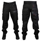 MENS BLACK RAWCRAFT STRAIGHT CARGO TAPERED CUFFED FIT JEANS ALL WAIST & LEG SIZE