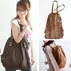 New Fashion Unisex PU Leather Punk Backpack Shoulder Bag Women Handbags Totes