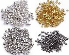 500pcs Wholesale Silver/Gold/Black/Bronze Plated Tube Crimp End Beads 1.5mm