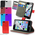Leather PU Wallet Executive Flip Case + Screen Protector For Apple iPhone 5/5s