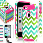 Heavy Duty Hybrid Rugged Hard Case Cover w/Screen Protector For Apple iPhone 5C