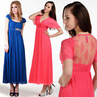 Women Lace Mesh Sheer Floral Prom Bridesmaid Cocktail Evening Beaded Long Dress