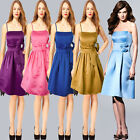 Womens Satin Wedding Party Bridesmaid Prom Knee Length Skater Occasion Dress